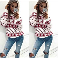 Women Fawn Printed Christmas Sweater