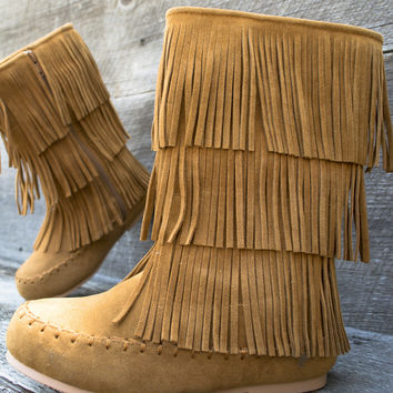 Indian Layered Fringe Little Girl Boots
