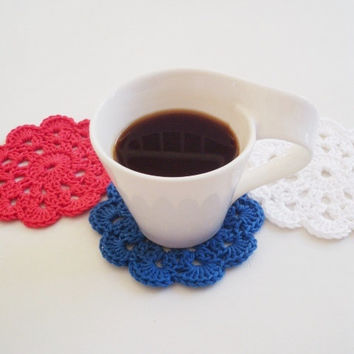 4th of July Crochet Coasters - Drink Coasters White Coasters Set Crochet Flower Coasters Doilies Appliques  Coffee & Tea time Patriot Flag