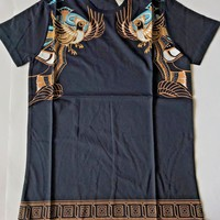 Brand New Versace Blue T-Shirt Bird Medusa Cotton Men's Short Sleeve Sizes L