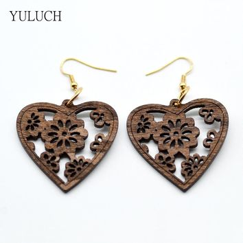 new design personality hollow latest good quality  african wood Heart shape Leaf earrings jewelry pair 2016
