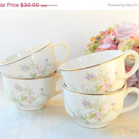 On Sale Vintage Crooksville Cottage Style Tea Cups, Set of 4, Tea Party, Wedding, Orphan, Shabby Chic, Rustic Romance
