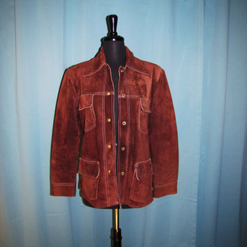 Vintage 70s Genuine Leather Jacket size 10. sienna, rust brown suede pointed collar snap front shirt / jacket.. uinsex