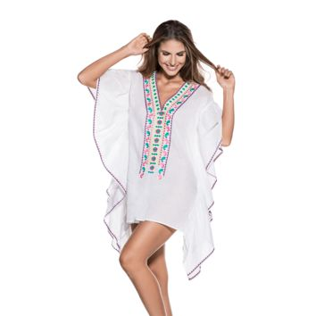 Ondademar Cotton Ruffle Solids Poncho
