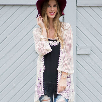 In Love Again Crochet-Lace Cardigan