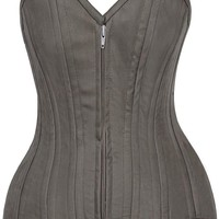 Daisy Corsets Top Drawer CURVY Olive Cotton Double Steel Boned Corset