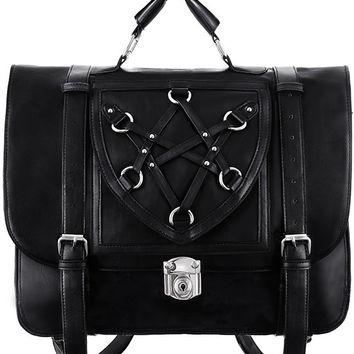 Occult Goth Boho Witch Black Messenger Backpack Expandable 3 Way Bag