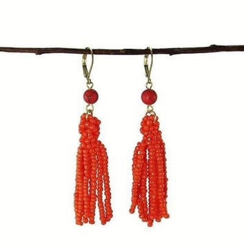 Tangerine Tassel Drop Earrings - WorldFinds