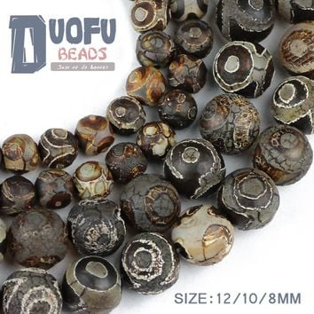 China Tibetan Dzi Eyes Beads Natural Brown Agate Stone Religion Round Loose Bead 8/10/12MM Beads for Jewelry Making Bracelet DIY