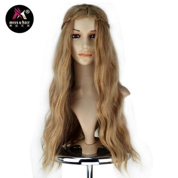 Miss U Hair Game of Thrones Girl Female Synthetic Role Play Long Wavy Brown Wig with Braid Cosplay Full Wig Halloween Party Use