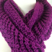 Scarf Plum Fuchsia Long Arrowhead Lace Handknit Caron Simply Soft Yarn