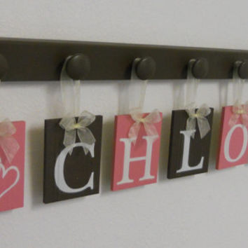 Pink and Brown Wooden Baby Nursery Wall Letters Sign, Name CHLOE with HEARTS - 7 Pegs Board