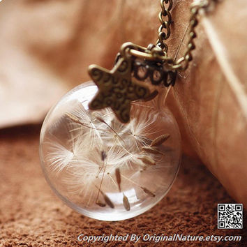 Nature Inspired Jewelry Real Dandelion Necklace Pendant Gift (HM0094-BRONZE)