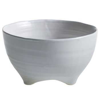 "Taliah Ceramic Footed Bowl Vase in White - 4"" Tall x 7"" Wide"