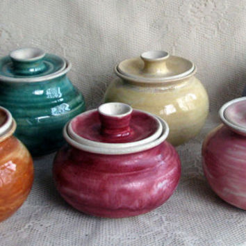 Sugar bowls wheel thrown six colors to by Lesliefreemandesigns