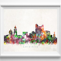 Chisinau Skyline Print, Moldova Print, Chisinau Poster, Cityscape, Watercolor Painting, Wall Art, Decor, Dorm Decor, Christmas Gift