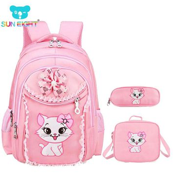 Sweet Cat Girl's School Bags Cartoon Pattern Kid Backpack Children School Backpack Girl Bag