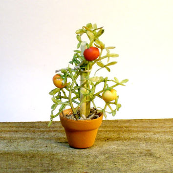 Miniature Tomato Plant Flower Pot Fairy Garden Dollhouse Farm Vegetable