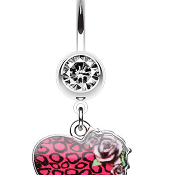 Stylish Animal Pattern Rose Heart Belly Button Ring