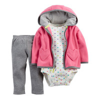 2017 New Baby Girls Valentine's Day Clothing Sets Newborn Cotton 3Pcs Suit Jacket+Romper+Pants Infant Spring Winter Clothes 15E