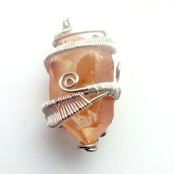 Tangerine Quartz Pendant Wire Wrapped Jewelry Handmade Mens Jewelry, Mens Necklace, Healing Jewelry Sacral Chakra, Hippie Funky Jewellery