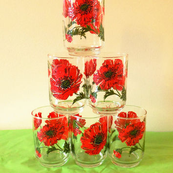 Libbey Tumblers, Libbey Red Poppy Glasses, Flower Power, Libbey Juice Glasses Red Flower Glasses, Vintage Barware, Mid Century Glasses 1960s