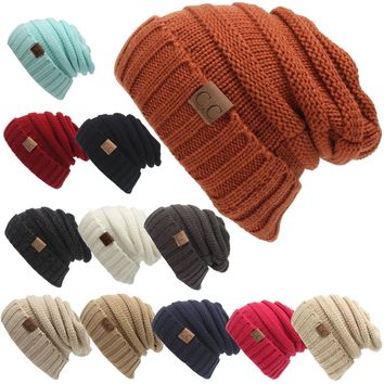 Free Shipping 2016 Rushed Special Solid Adult Gorro C Men's Women's Chucky Stretch Cable Knit Slouch Cc Beanie Skully Ski Hat