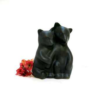 Pigeon Forge Pottery Bears Black Matte Finish Cubs Figures D. Ferguson Signed