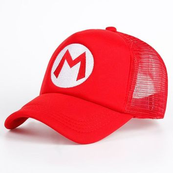Trendy Winter Jacket Super Mario Bros Hat Cartoon Brand Baseball Cap Mesh Red Mario Anime Cosplay Costume Hat Summer Bone Adjustable Letter M Hats AT_92_12