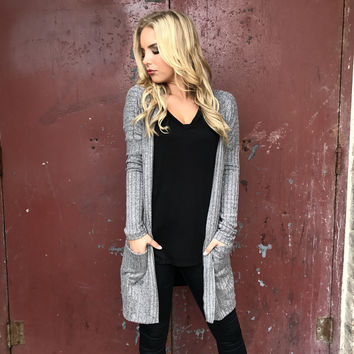 Binary Star Knit Cardigan In Charcoal Grey
