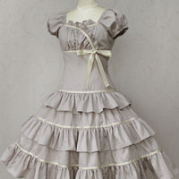 Allison Ribbon Dress (greige) by Victorian maiden | Tokyo Rebel