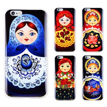 High quality Soft TPU Russian Dolls Pattern Style Phone Case for iphone 6 6S 4.7'' Cover Case for iphone 5 5S SE Wholesale