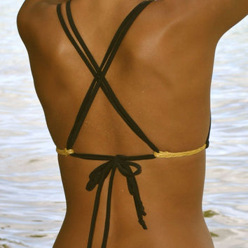 Black with Gold Braid Double Cross Back Bikini Top