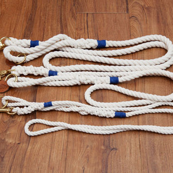 Natural White Dog Leash - Navy Blue Hemp Twine