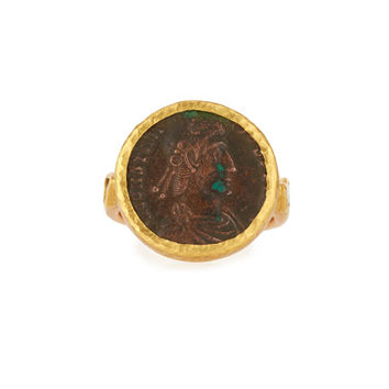 Gurhan Roman Coin Ring in 24K Gold with Diamonds, Size 6.5