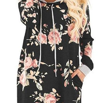 Onyx Floral Hoodie Sweatshirt Dress