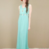 cutout maxi dress in teal by Aryn K. with knotted cutouts at waistline | shopcuffs.com