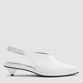 Reike Nen / Kitten Ribbon Slingback in White