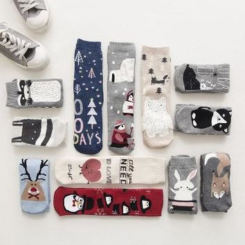 Women Warm Cotton Socks Lovely Animal Pattern Winter Cartoon Christmas Gifts Thick Adult Mid-calf New Christmas Socks