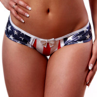 American Flag Scrunch Bottom Shorts-Patriotic Collection