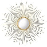 Metal Sunburst Mirror - Aged Gold