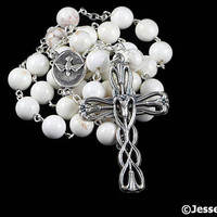Anglican Rosary Beads White Howlite Natural Stone Prayer Beads Silver Christian Episcopal Unisex Gift