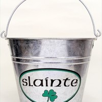 Slainte Beer & Ice Bucket - Unique Bar Gifts - Celtic Phrases - Irish Pub Toasts - Slainte