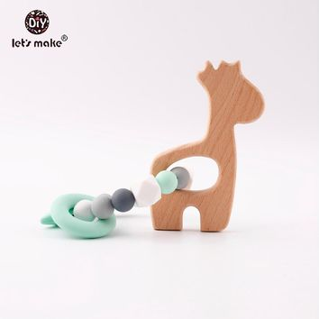 Let's Make PBA Free Silicone Beads Cute Giraffe Food Grade Beech Wood Bracelet Baby Charm Abstract For Woman Bracelets