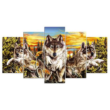 Sunset Animal Wolf Wolves Wall Art Canvas Panel Print Picture Framed UNframed
