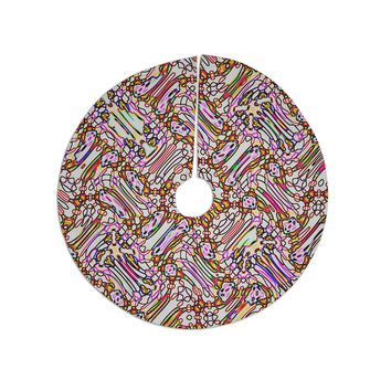 "Dawid Roc ""Camouflage Pattern 3 "" Pink Yellow Tree Skirt"