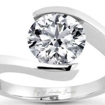 A Perfect 3.4CT Round Cut Diamond Solitaire Russian Lab Diamond Tension Setting Ring