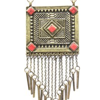 Tribal Square Tassels Necklace