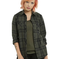 Olive & Black Plaid Girls Woven Button-Up