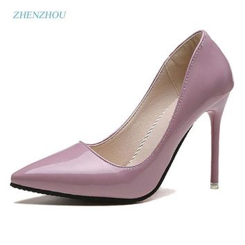 zhenzhou Free shipping Pumps 2018 spring and autumn new nude color pointed women's shoes are sexy and high heels Fine with